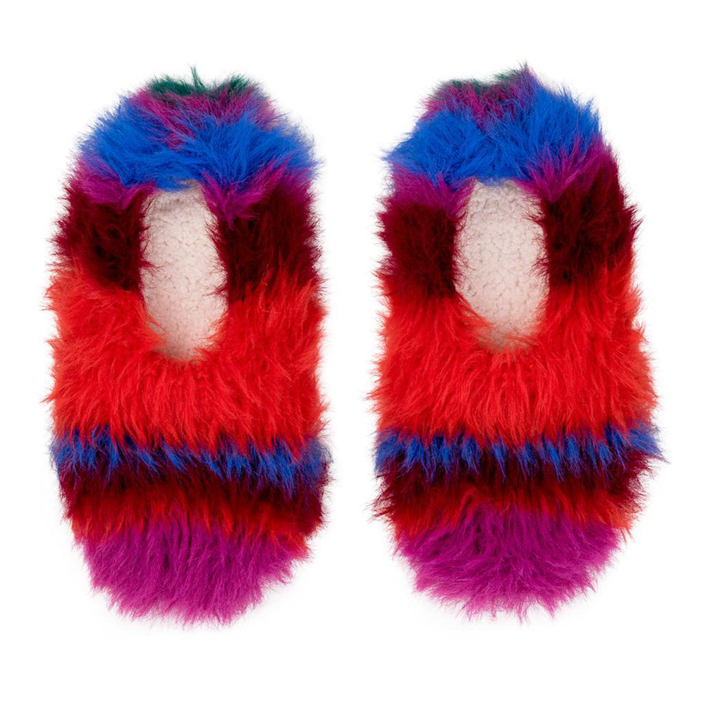 Striped Furry Slippers in Poppy Magenta