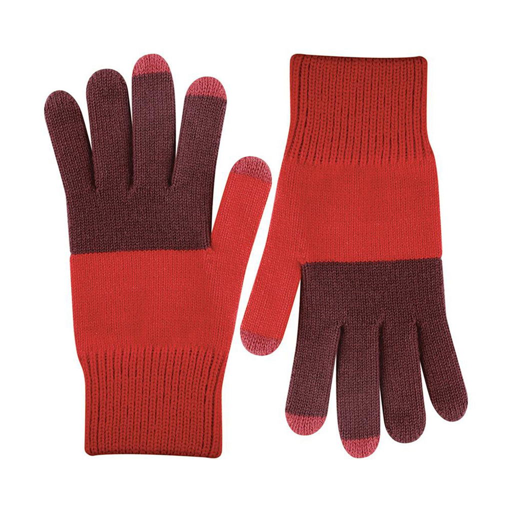 verloop unisex medium classic colorblock touchscreen gloves in wine and red color scheme