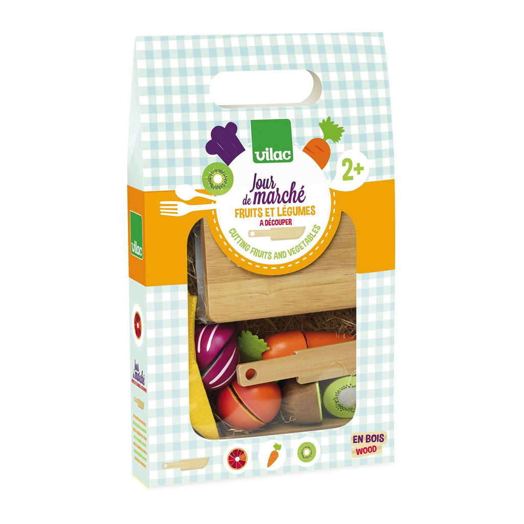 vilac jour de marche fruits et legumes a decouper wooden cutting fruits and vegetables toy in packaging