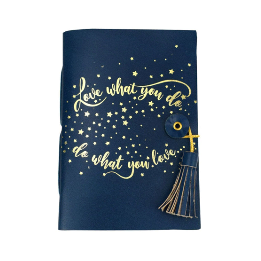 vivid graduate navy blue leather notebook journal with gold lettering and lined pages graduation gift