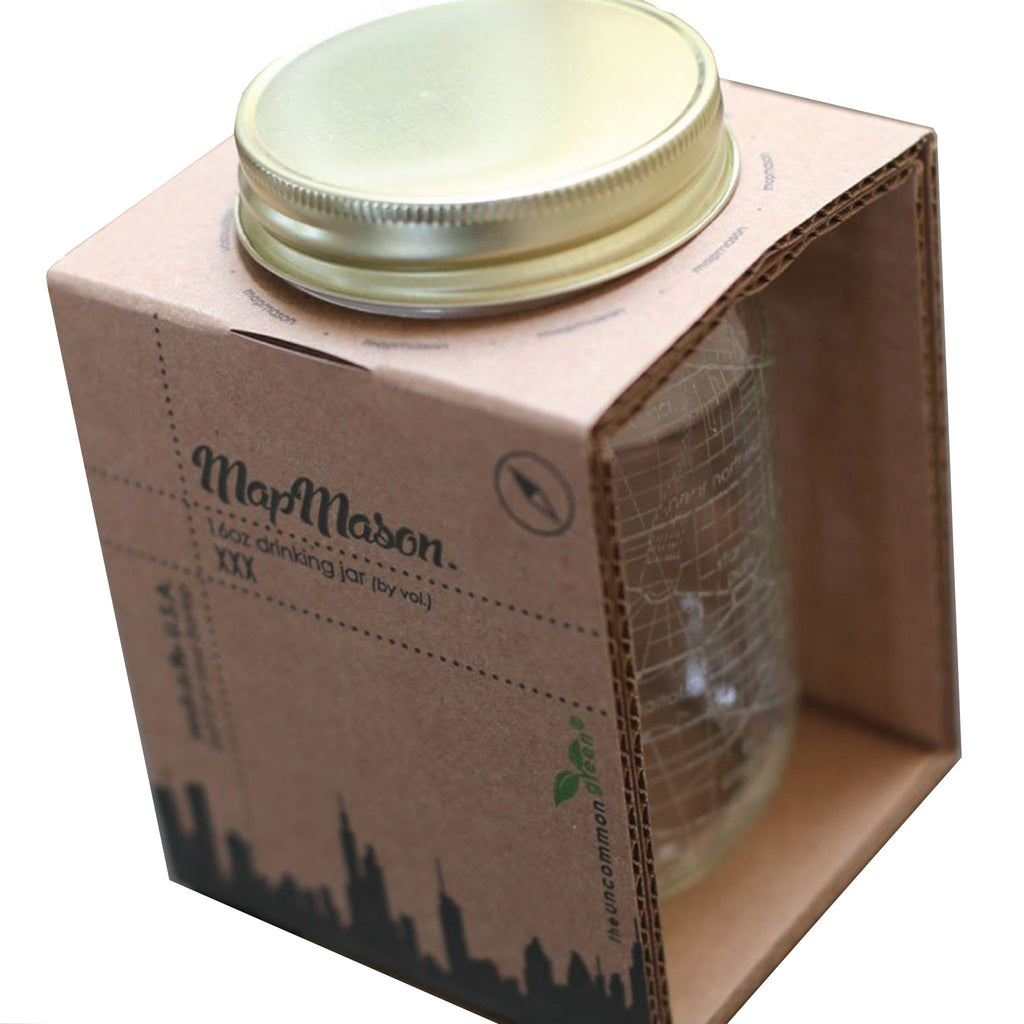 well told brooklyn etched map mason glass jar packaging