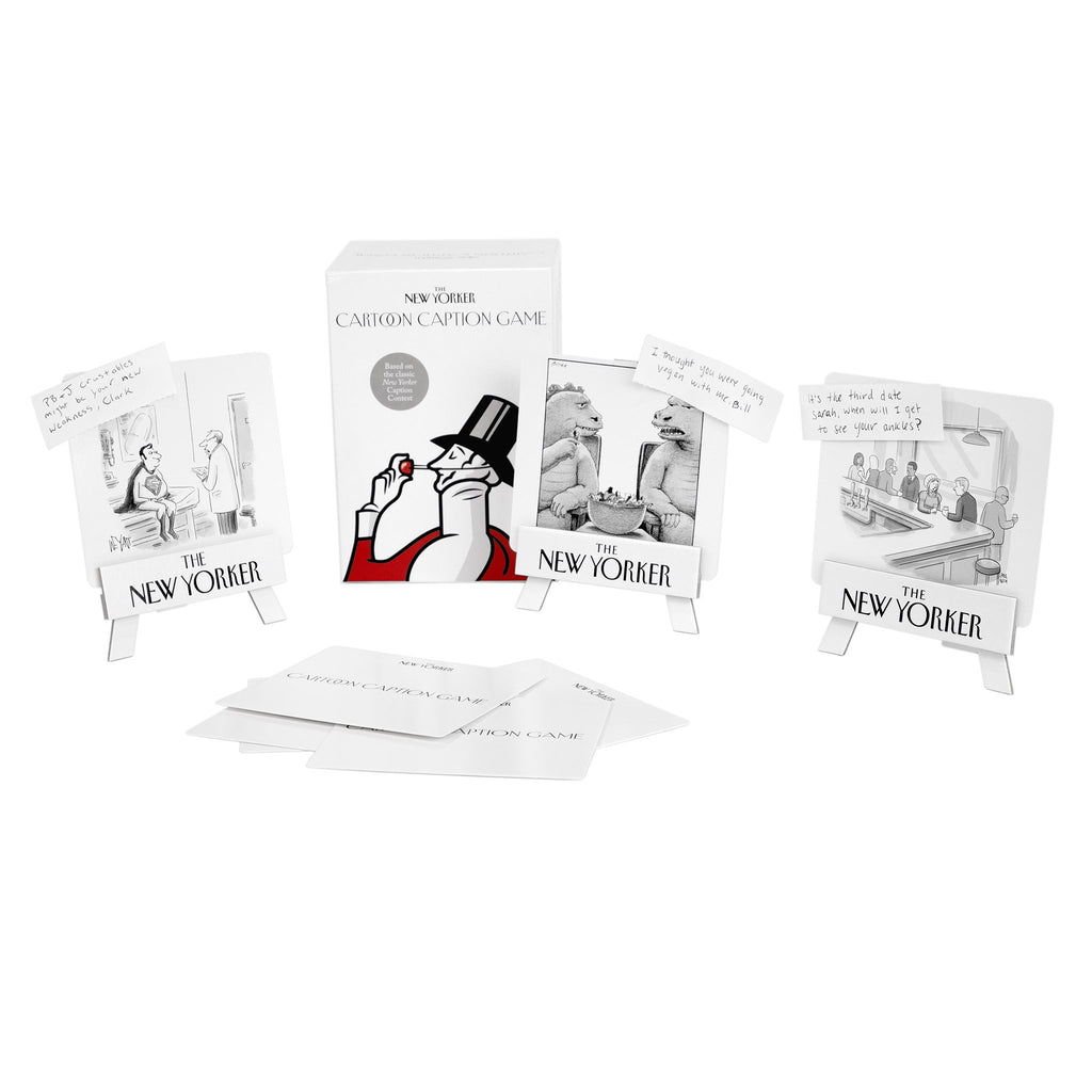 the new yorker cartoon caption game box and cards in play