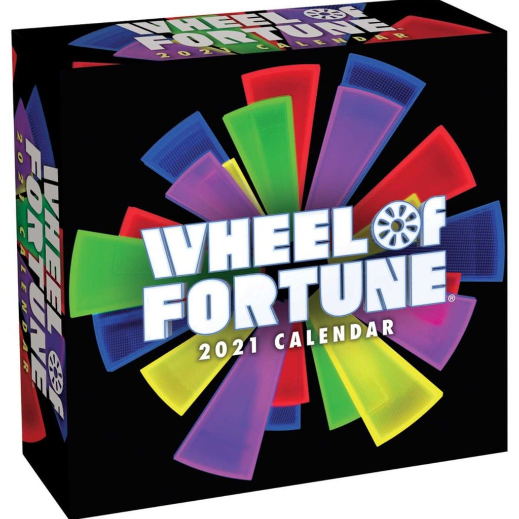 wheel of fortune page a day calendar box with logo on black background with multicolored wheel