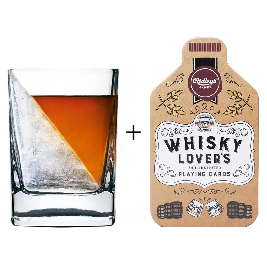 whiskey lovers gift box with corkcicle whiskey wedge and whisky lovers playing cards