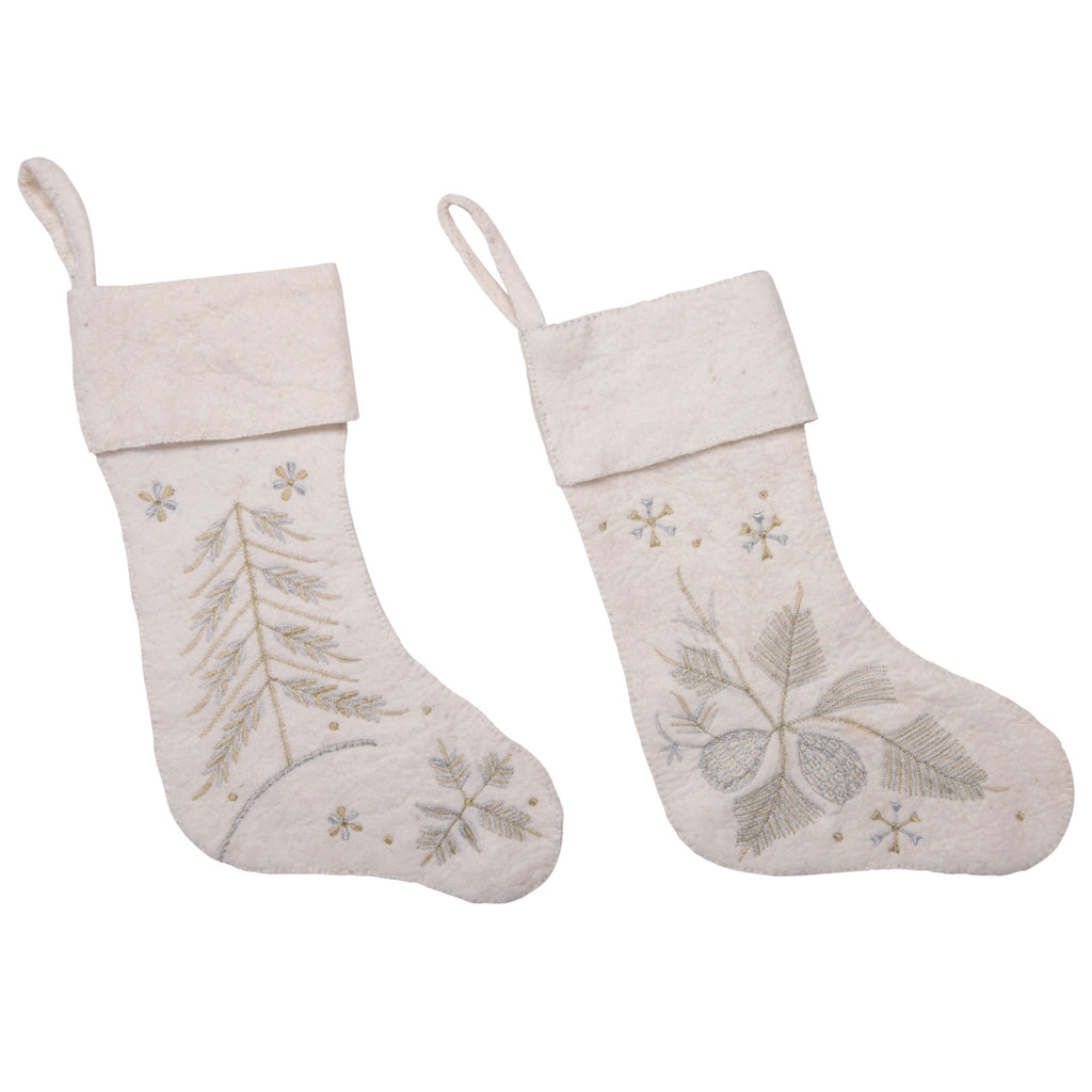 off white wool felt stocking with silver and gold embroidery