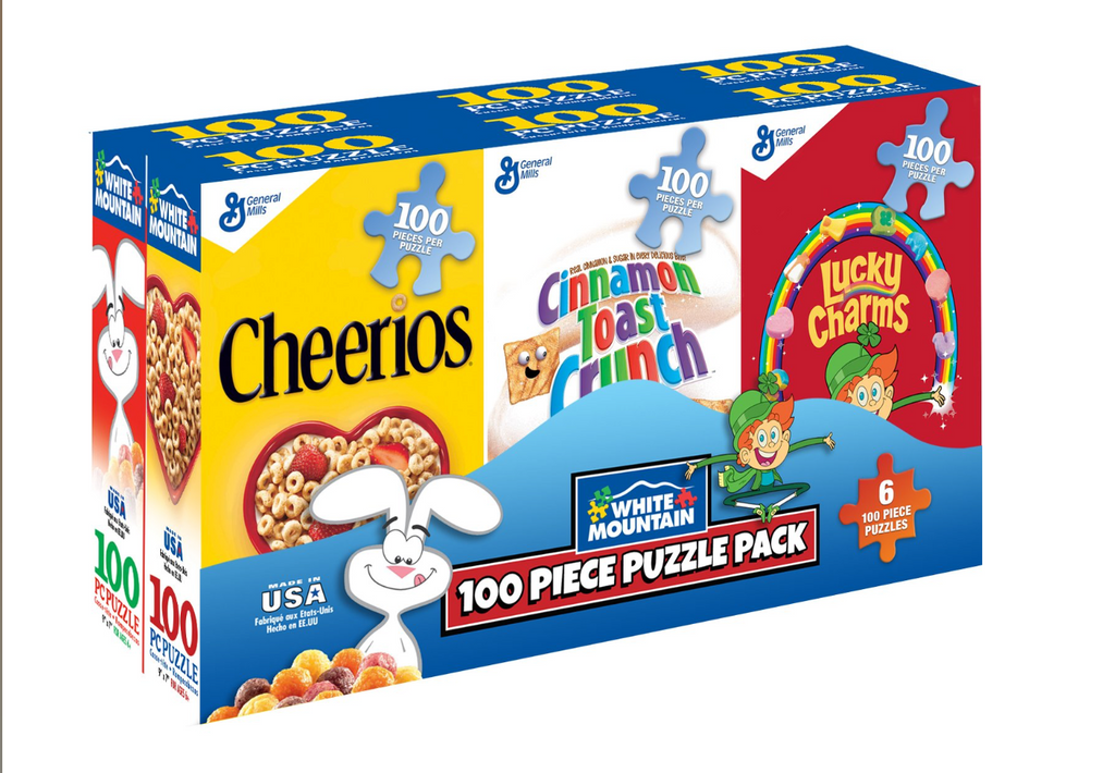 100 piece mini cereal box jigsaw puzzle pack