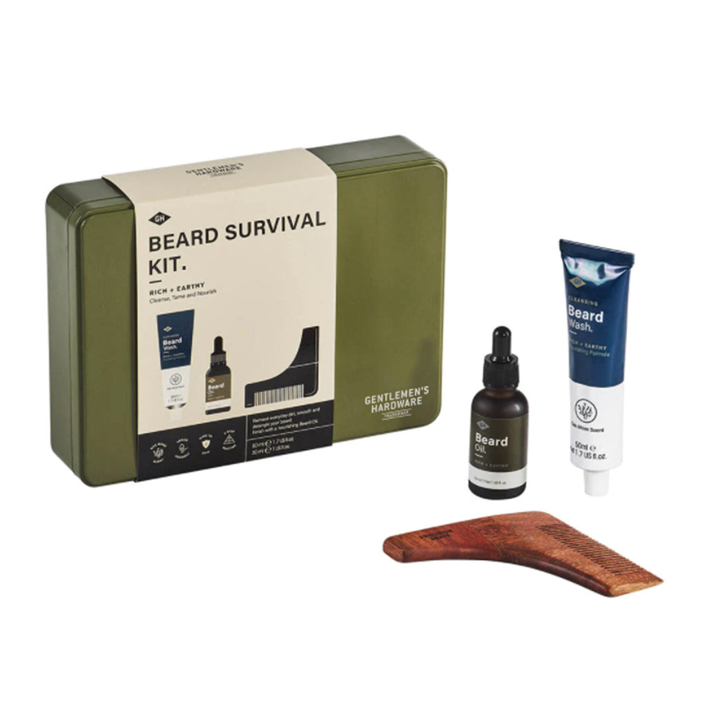 wild and wolf gentlemen's hardware beard survival kit grooming set tin packaging with contents