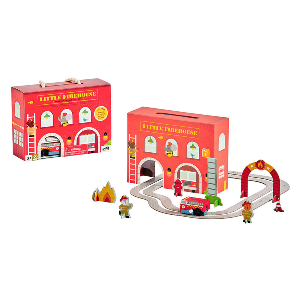 pop out paper track, wooden wind up car, and firehouseset