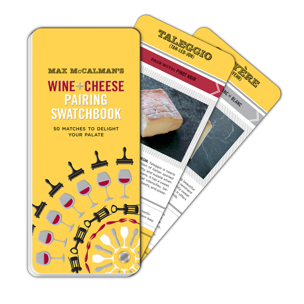 wine and cheese pairing swatchbook in yellow with red, grey, and black illustrations