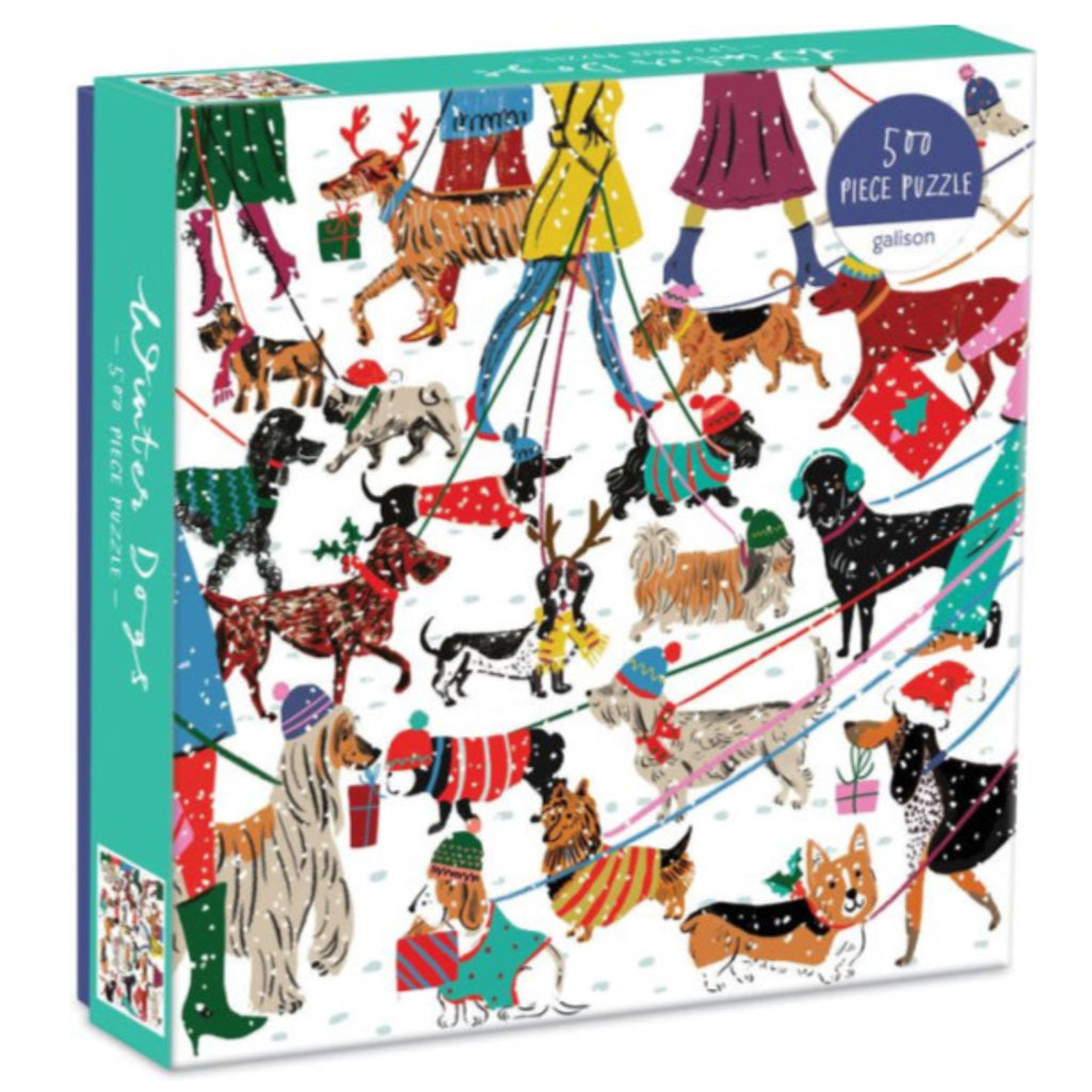 jigsaw puzzle box with illustration of people walking dogs in the snow