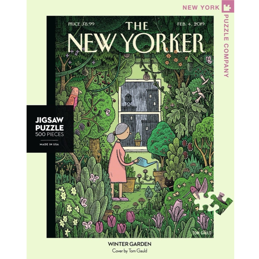 jigsaw puzzle of a new yorker magazine cover depicting a woman watering in a plant-filled apartment