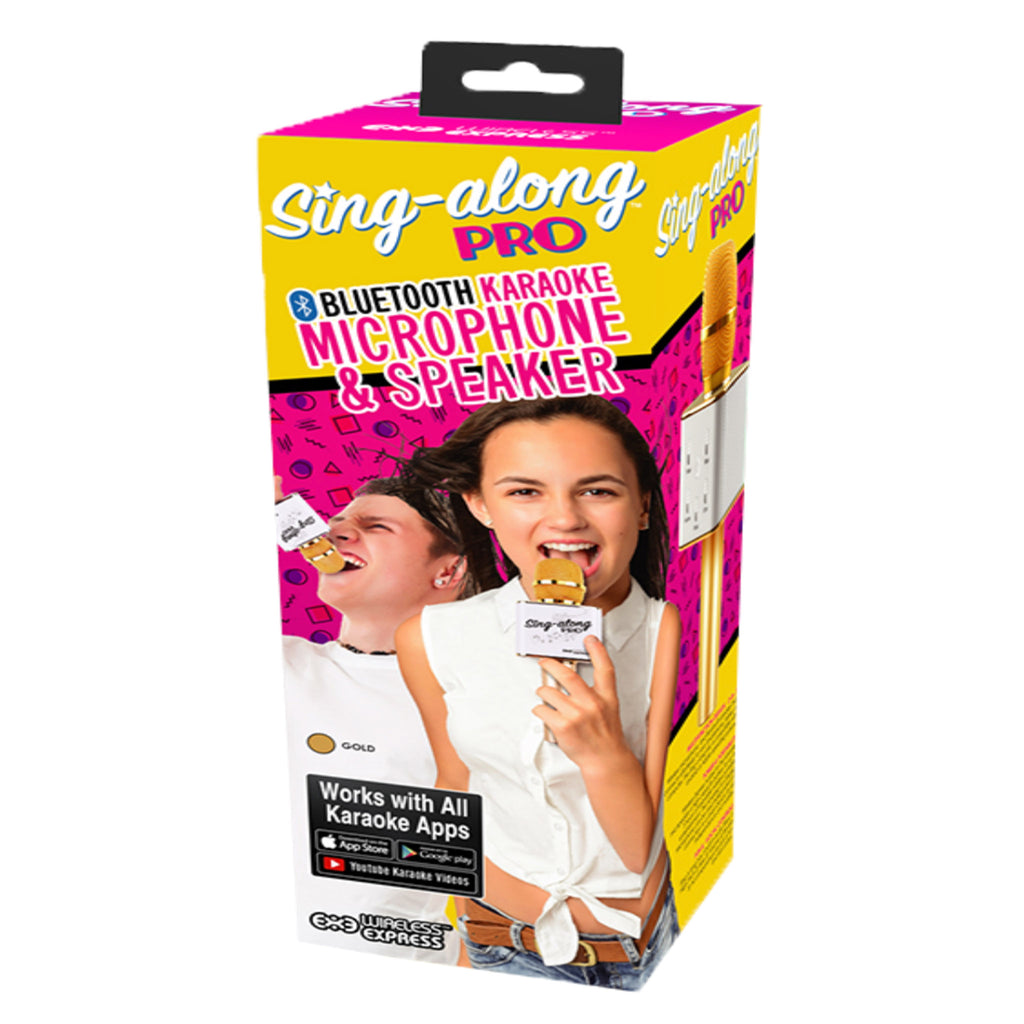 wireless express sing along pro bluetooth karaoke microphone speaker gold box