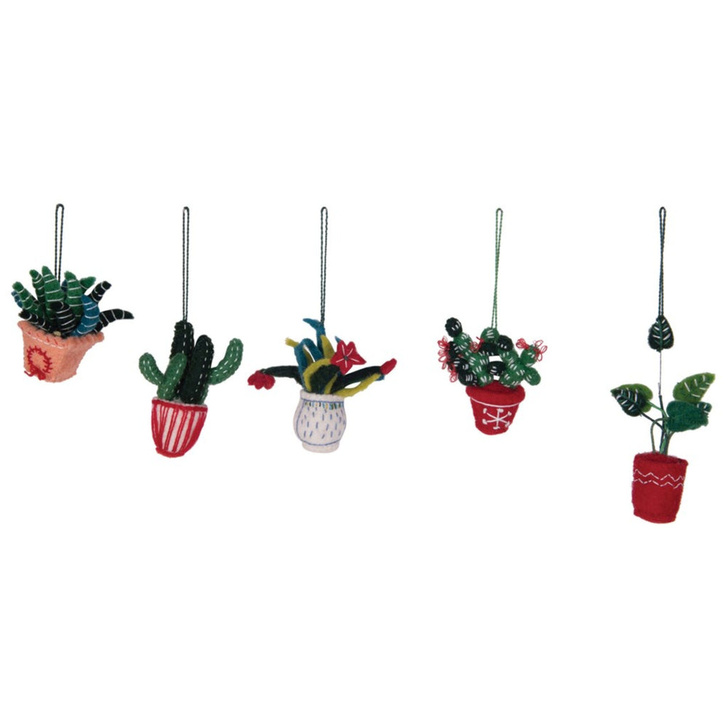 wool felt houseplant ornaments in assorted styles