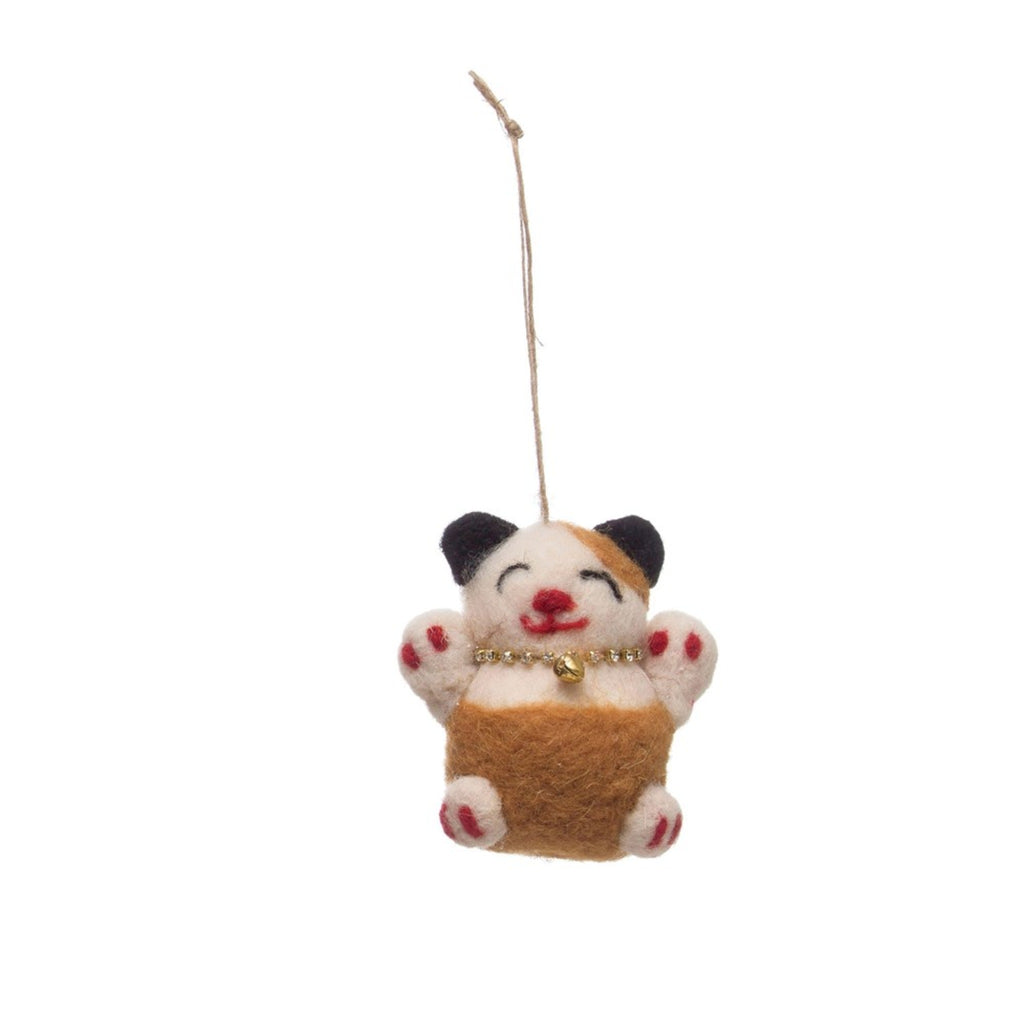 wool felt lucky cat ornament