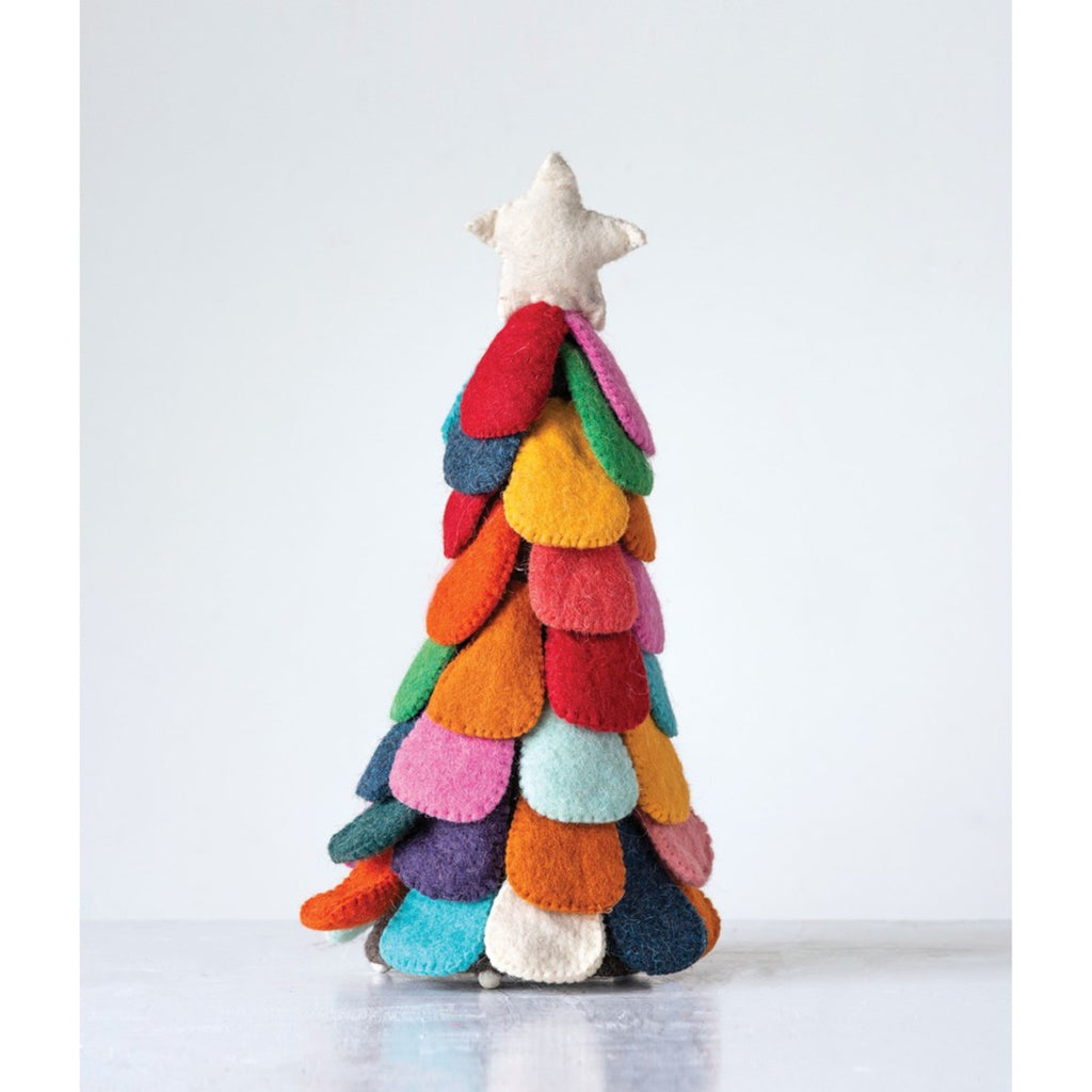 wool felt tabletop christmas tree with rainbow boughs