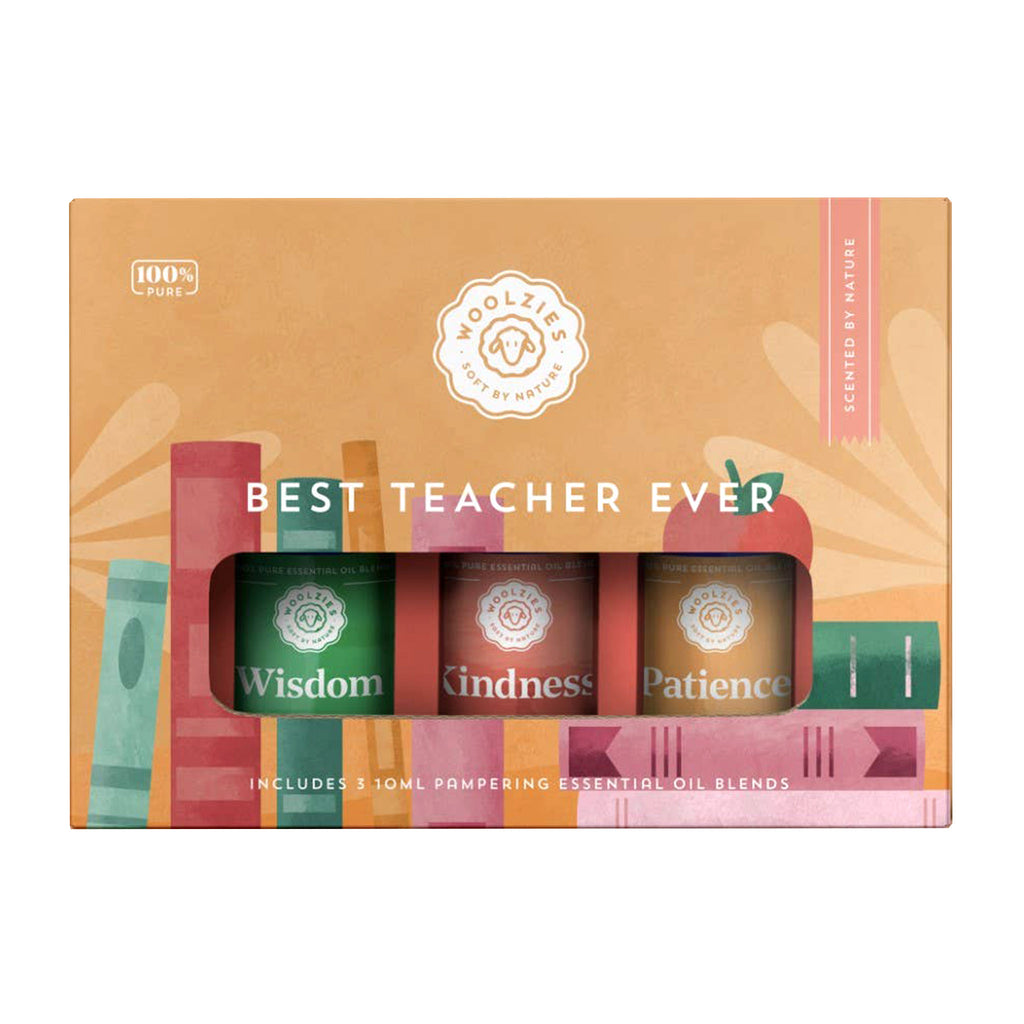 woolzies best teacher ever collection pure essential oil blends set of three in packaging