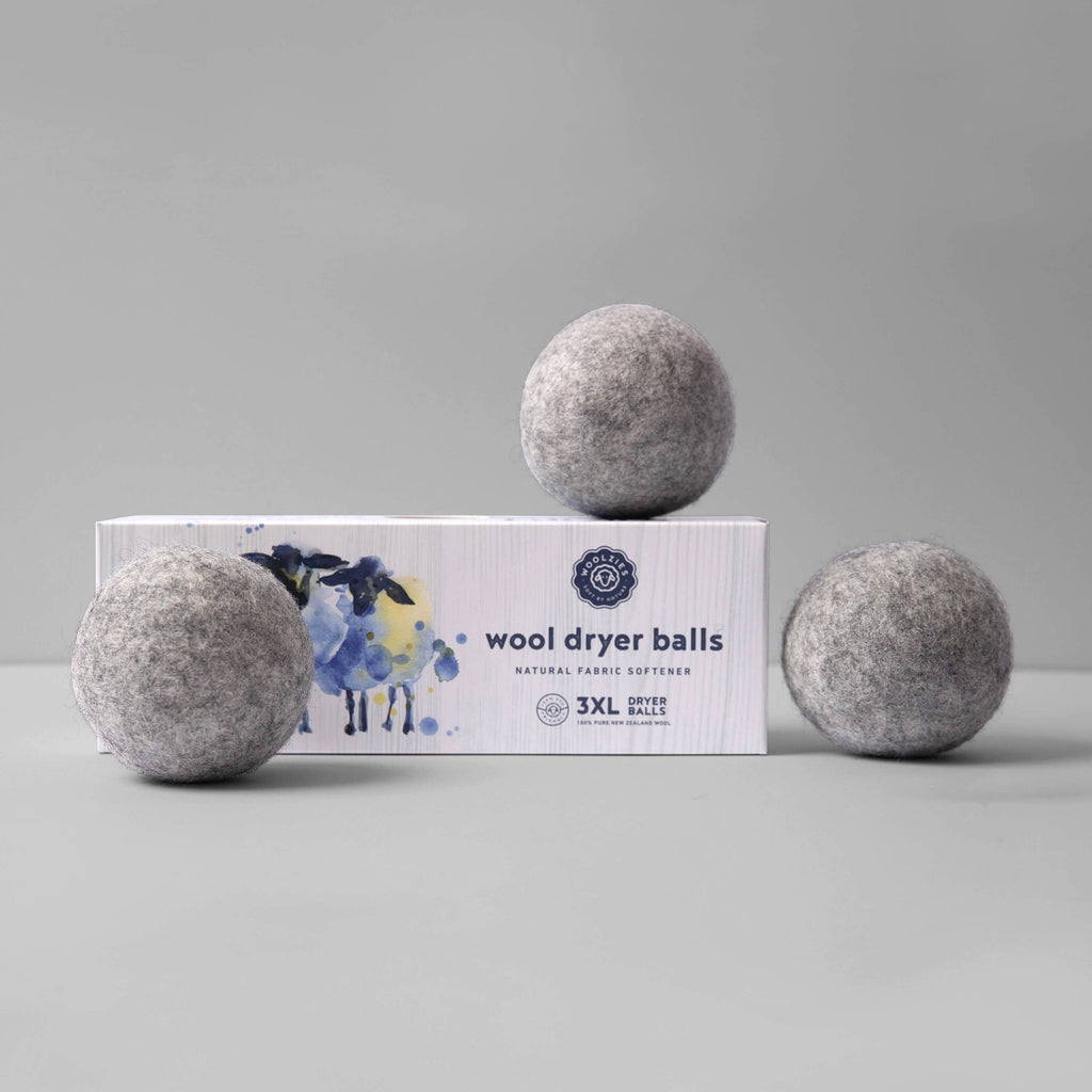 woolzies eco-friendly gray wool dryer balls set of three with packaging