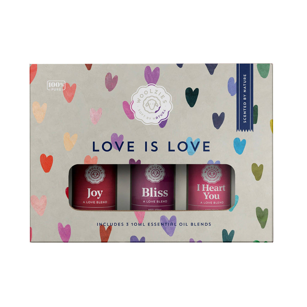 woolzies love is love pure essential oil blends set of three in packaging