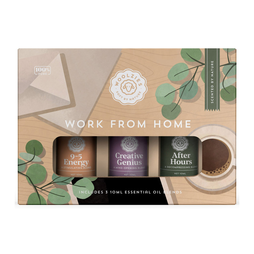 woolzies work from home collection pure essential oil blends set of three in packaging