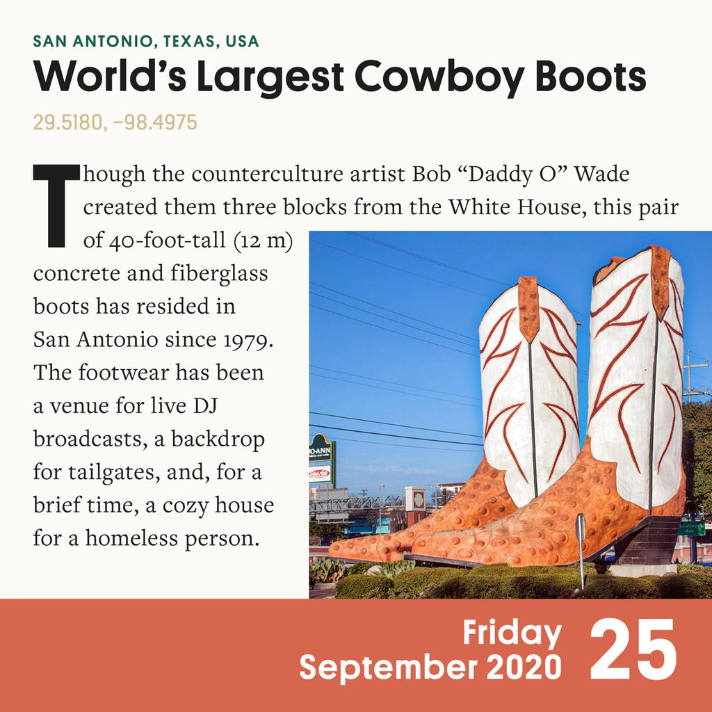 workman 2020 atlas obscura page a day desk calendar largest cowboy boots page