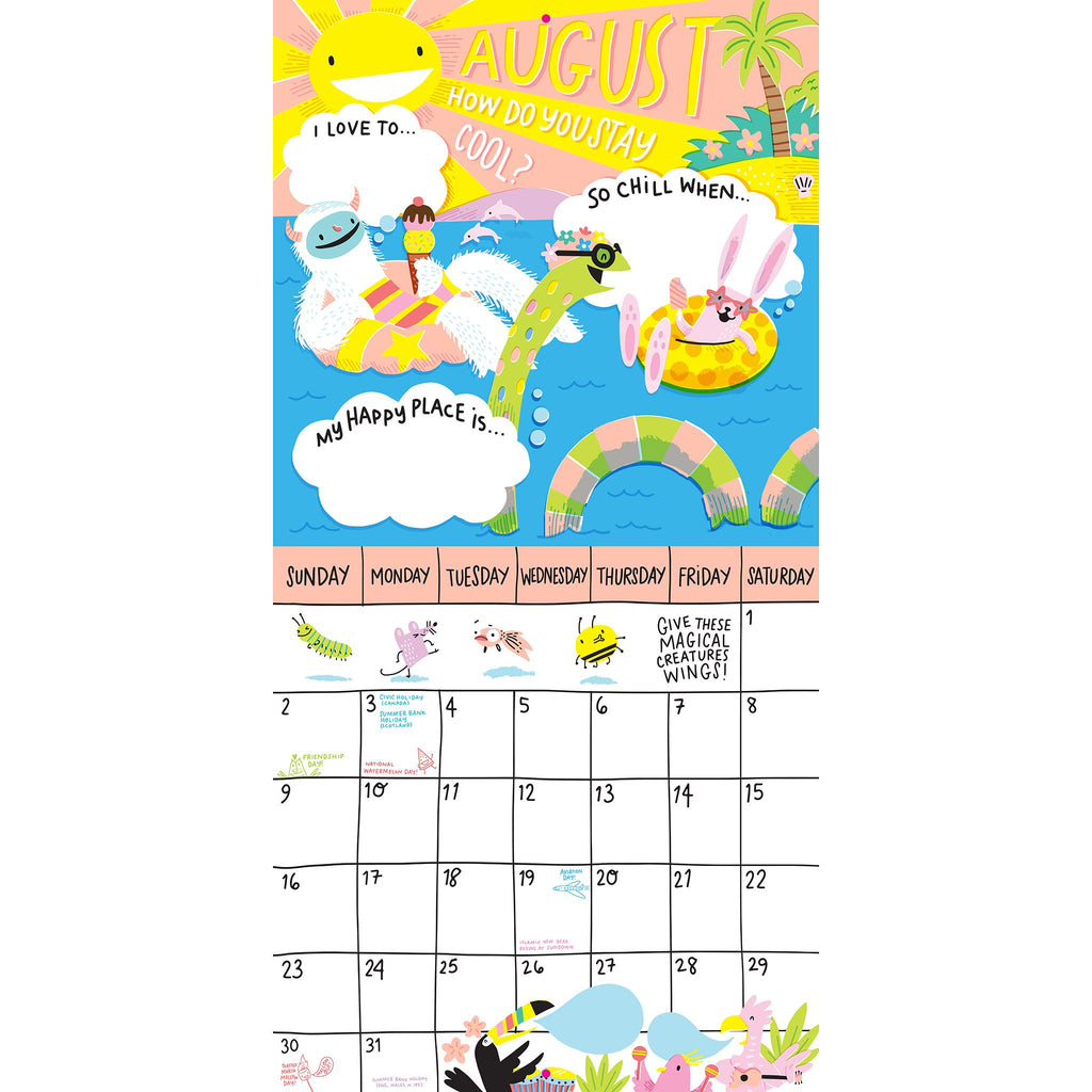 workman 2020 magical creatures activity monthly wall calendar august