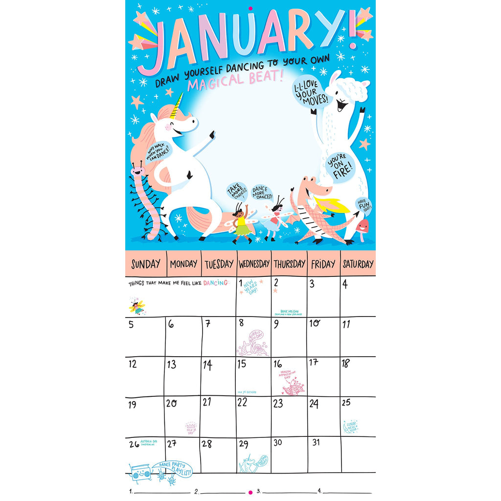 workman 2020 magical creatures activity monthly wall calendar january