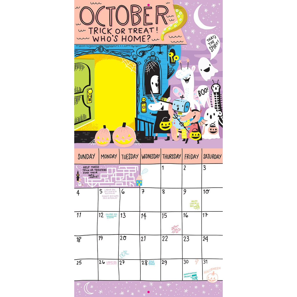 workman 2020 magical creatures activity monthly wall calendar october