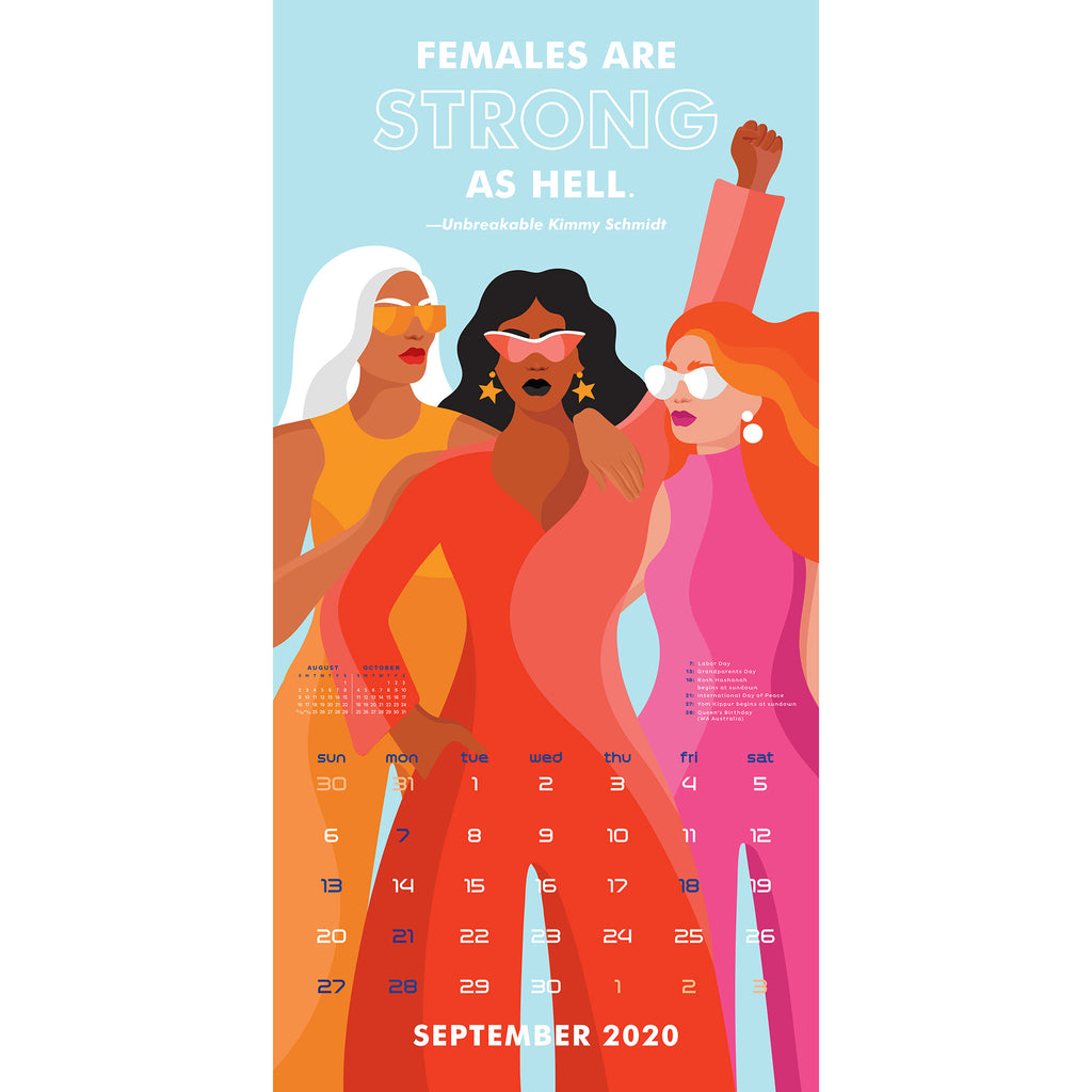 workman 2020 the future is female monthly wall calendar september
