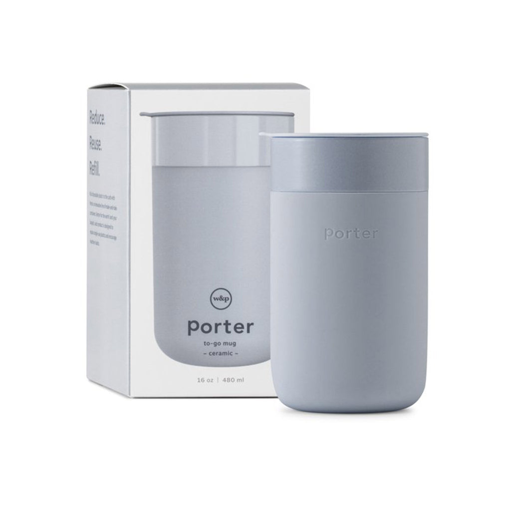 w&p 16 ounce porter reusable portable silicone covered ceramic travel mug slate gray with lid with box