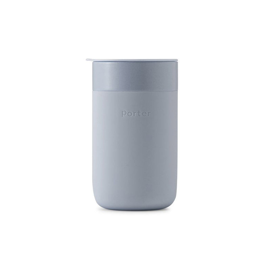 w&p 16 ounce porter reusable portable silicone covered ceramic travel mug slate gray with lid