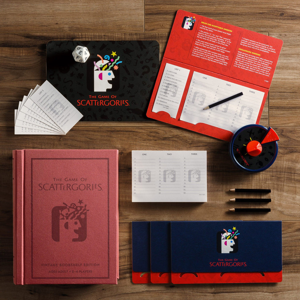 scattergories vintage bookshelf edition linen book game contents