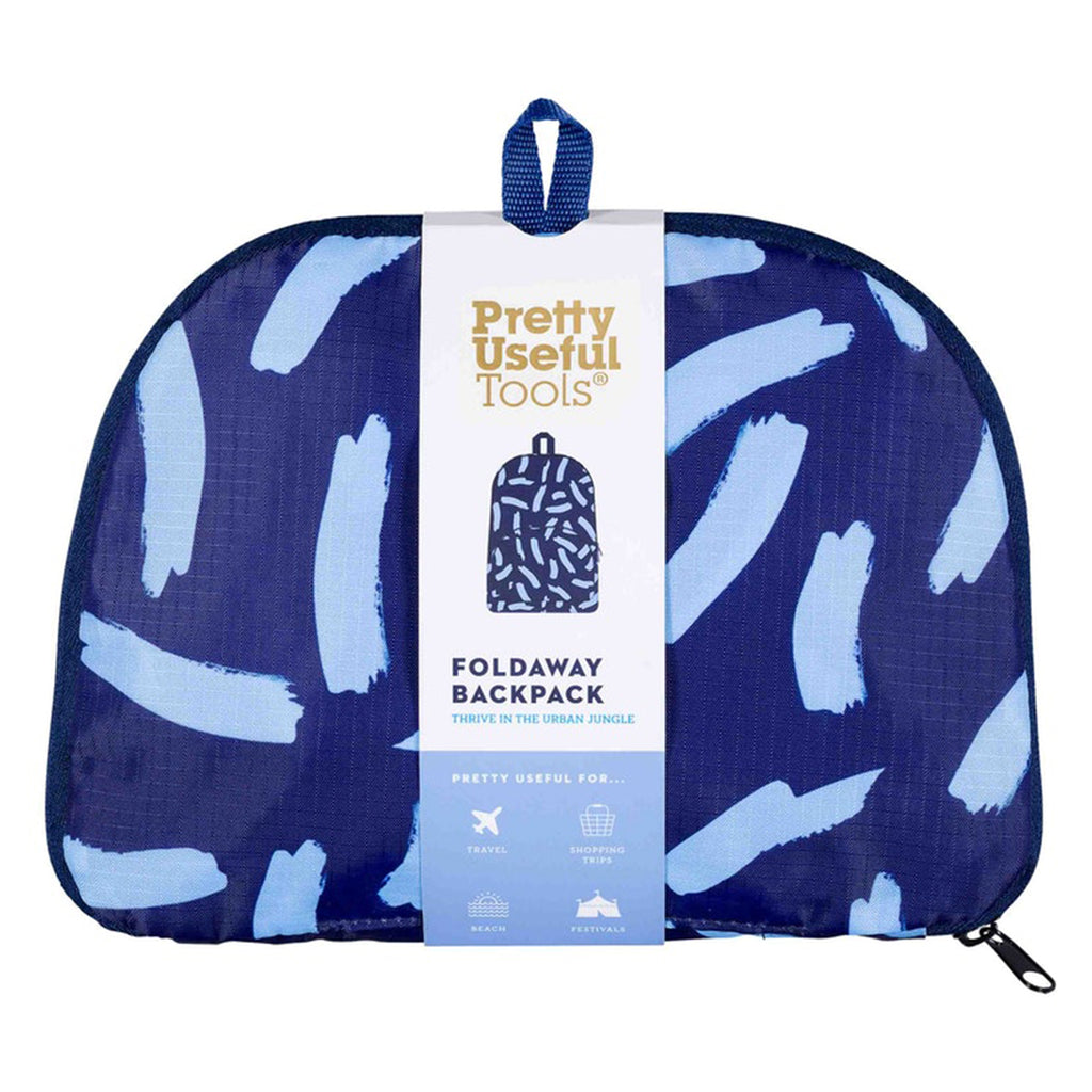 midnight blue foldaway backpack in pouch