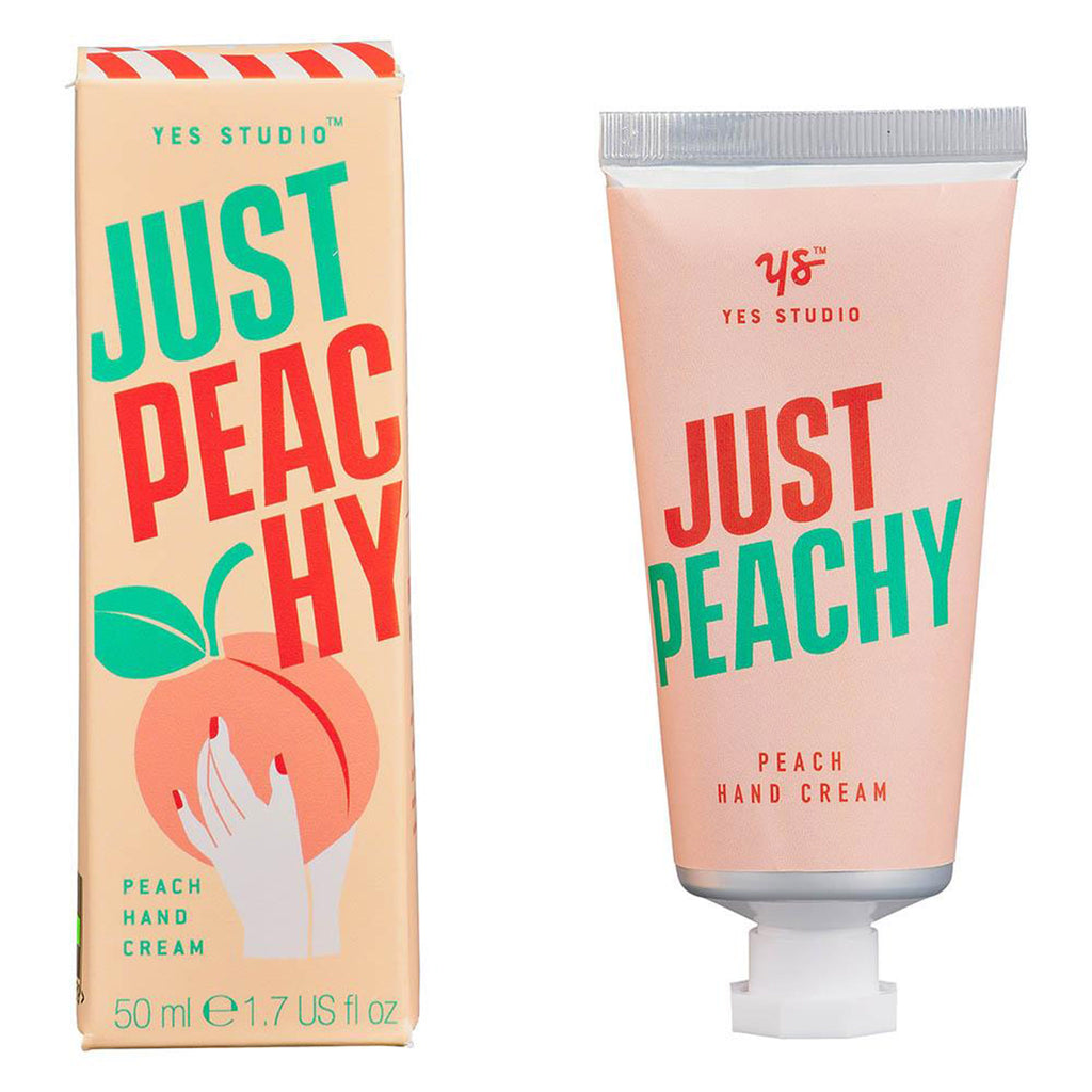 yes studio just peachy peach scented moisturizing hand cream tube with box