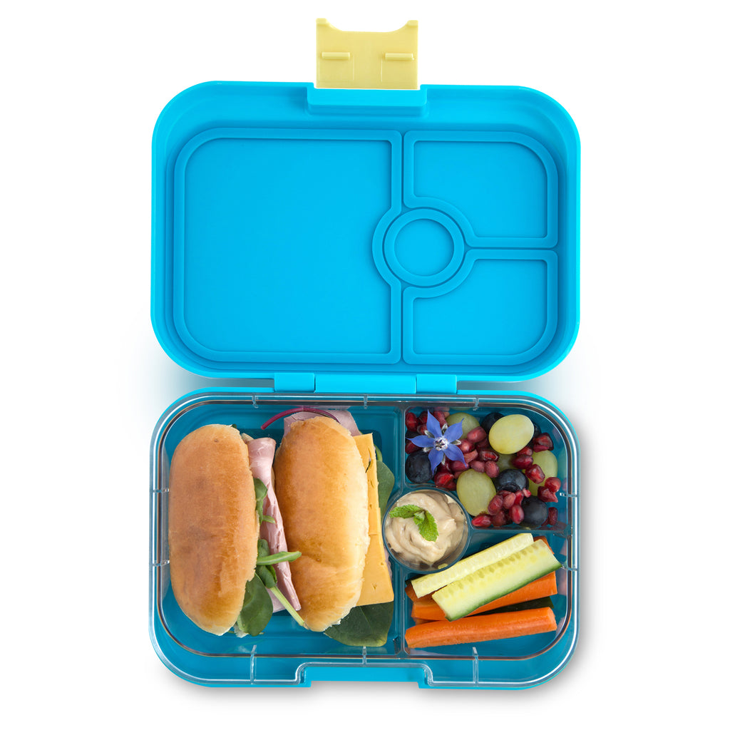 yumbox 4 compartment lunchbox kai blue interior food