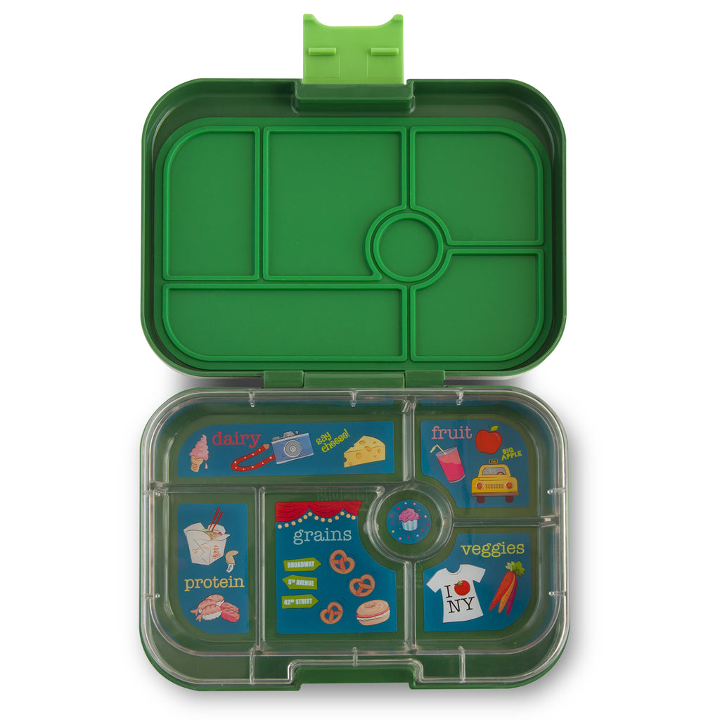 yumbox 6 compartment lunchbox brooklyn green interior