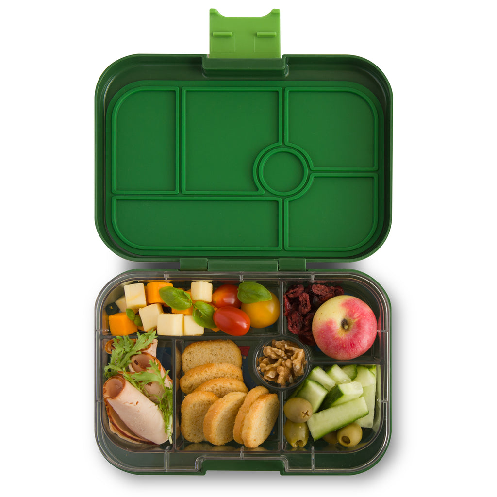 yumbox 6 compartment lunchbox brooklyn green interior food