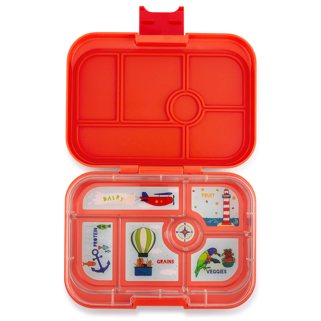 yumbox 6 compartment lunchbox saffron orange interior