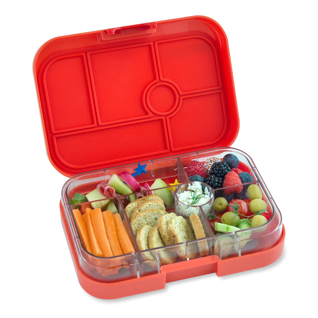 yumbox 6 compartment lunchbox saffron orange interior food