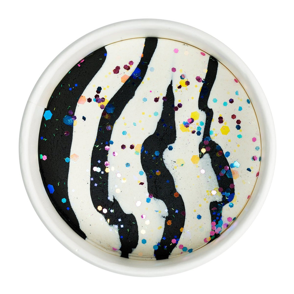 play dough in black and white zebra stripes with multicolor glitter