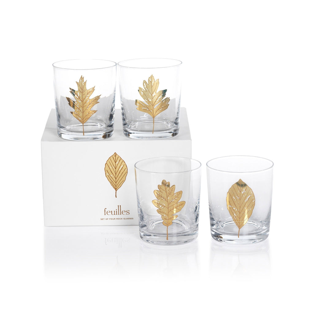 zodax feuilles gold leaf rocks glass set of four with matching gift box