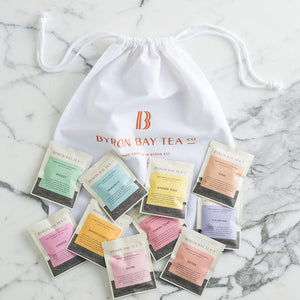Tea Sampler - 10 Sachet Tea Leaf Sampler Pack with Small Tote Bag Gifts Byron Bay Tea Company