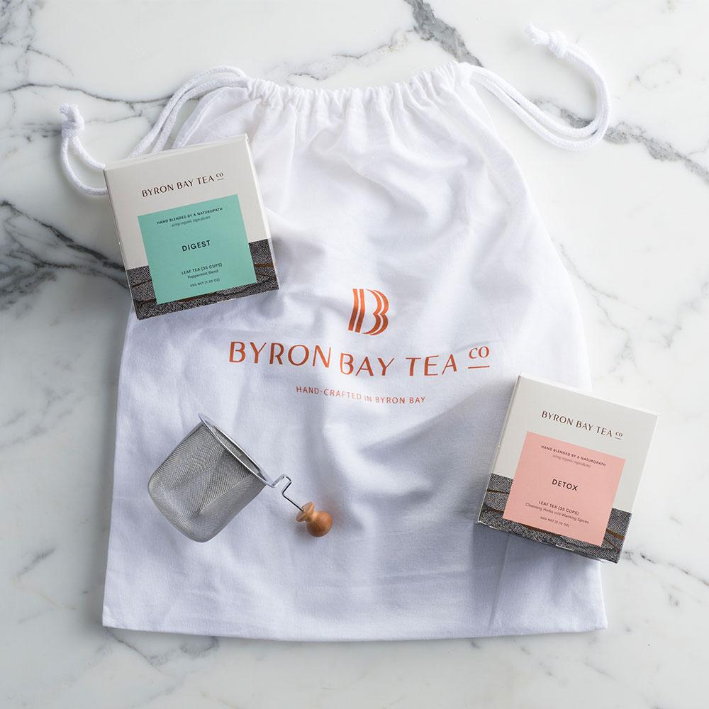 Tea Time - Two Box Gift Pack with Tea Infuser and Large Tote Bag Gifts Byron Bay Tea Company