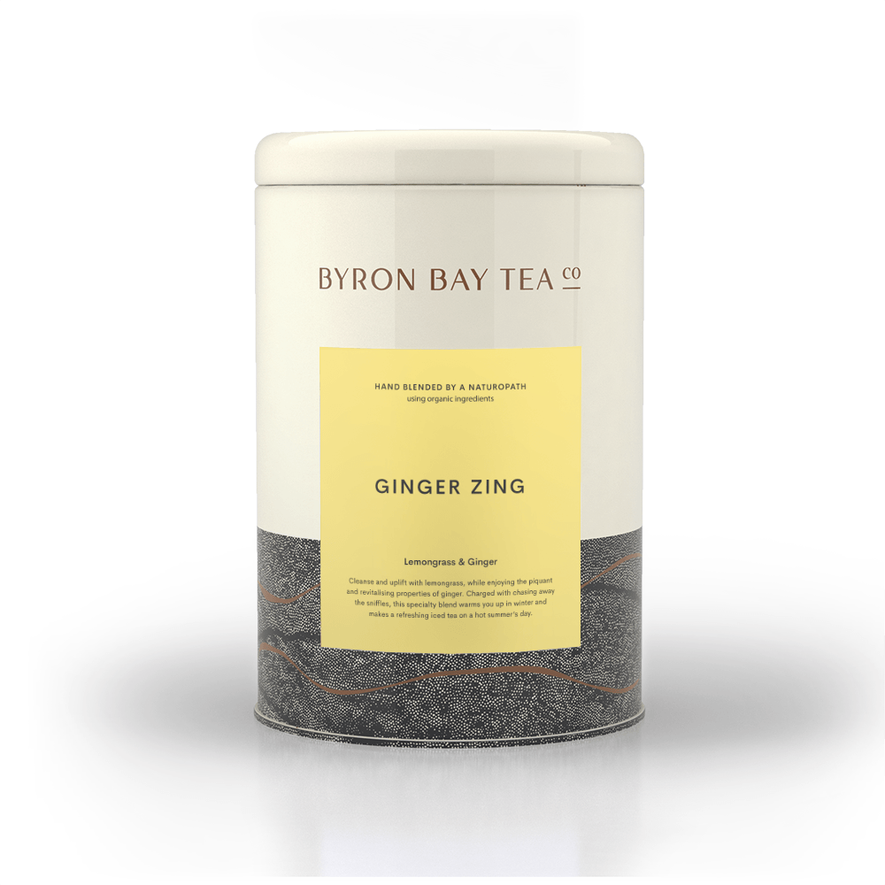 Ginger Zing Leaf Tin 180g Tea Leaf Byron Bay Tea Company