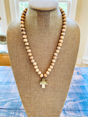 SAND CROSS PENDANT NECKLACE