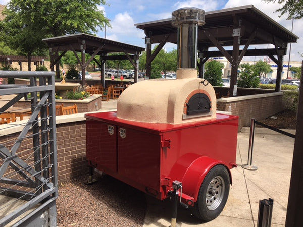 1030 C Starter Pro Mobile Oven Trailer - Red Trailer with Almond Stucco