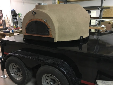 "Tandem Axle 1200 B 48"" Brick Pizza Oven Black Trailer"