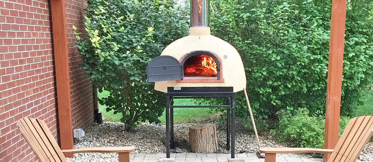 800 B brick oven on a patio