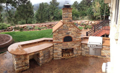 Wood-Fired Pizza Oven in Outdoor Kitchen