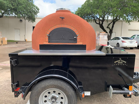 Starter Pro Wood Fired Pizza Oven Trailer Black Sun Dried Stucco