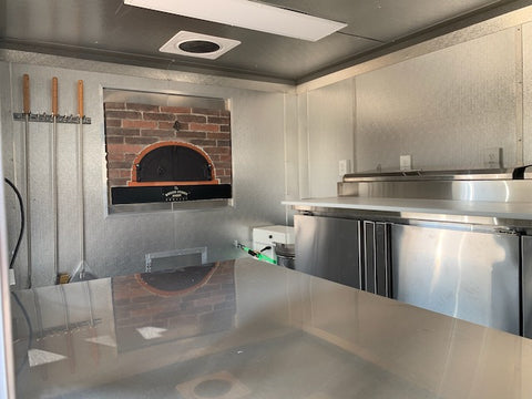 Concession Porch Trailer Stone Facade Wood Fired Pizza Oven